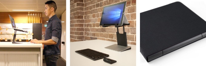 (From L to R) Used at a standing height table. With a Microsoft Surface. Tiny Tower with neoprene sleeve.