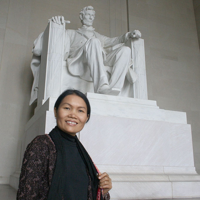 Standing at the Lincoln Memorial (I've heard he was a vegetarian!)