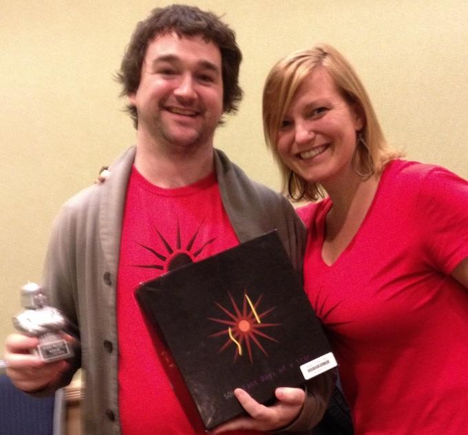 Jodi and Ryan winning the Silver Kubla! (super old prototype)