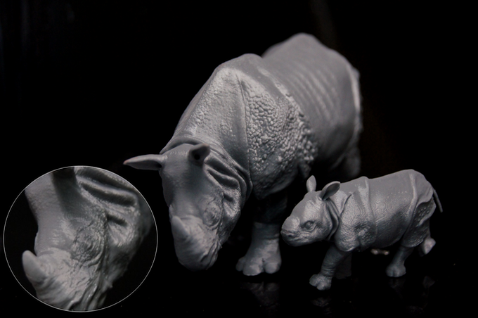 Indian Rhino Mom & Boy, Designed by Rie Ito (x, y 63um, z 100um)