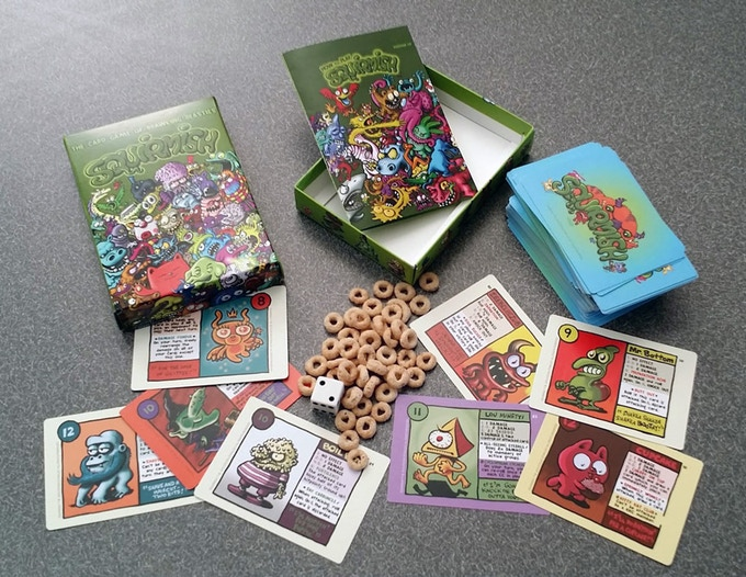 Squirmish Protoype Box with cereal damage counters and a die.