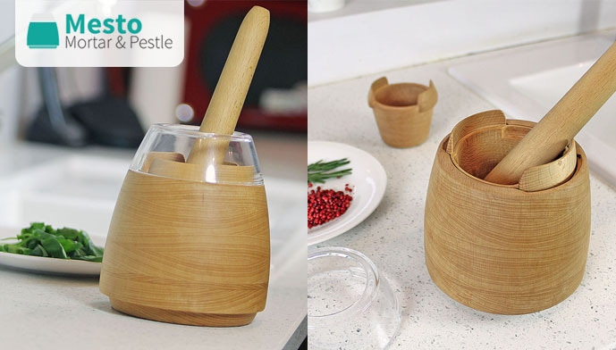 Five-piece, multifunctional Mortar & Pestle set with a clear shield to reduce spillages and removable inserts to speed up prep-time.