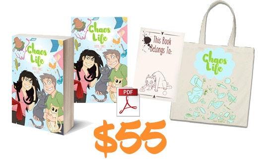 Signed Bookplate + EXCLUSIVE TOTE BAG! Get a DRM-free PDF, the DIGITAL WALLPAPER, and a PAPERBACK COPY of ChaosLife: Queers, Comics, and Cats with a SIGNED bookplate and a Kickstarter exclusive Tote Bag!