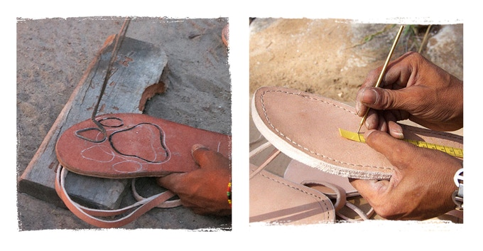 These handmade sandals are hand sewn with unique animal footprints on the leather sole.