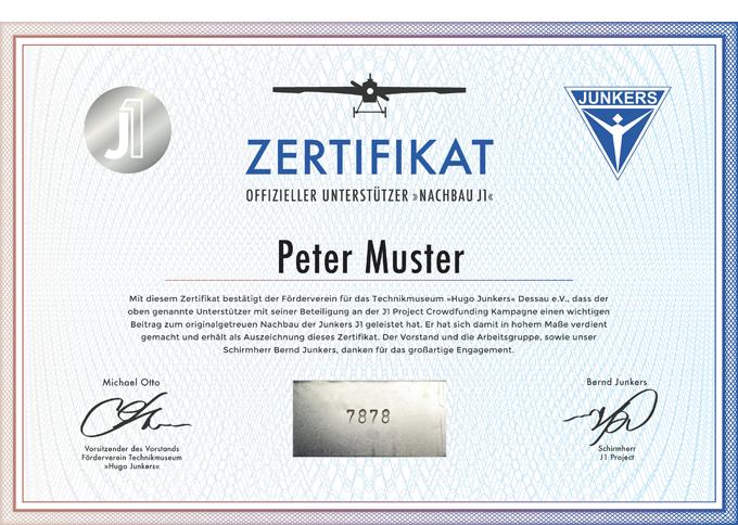 Zertifikat mit Originalblech und eingeprägter Seriennummer