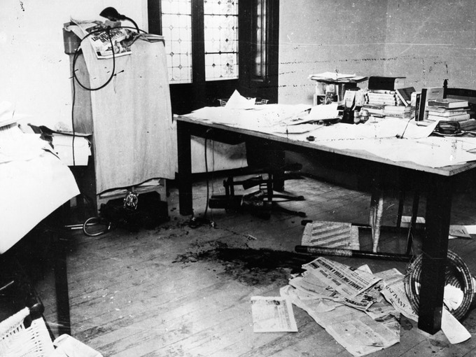 Photo of the murder scene, Trotsky's office