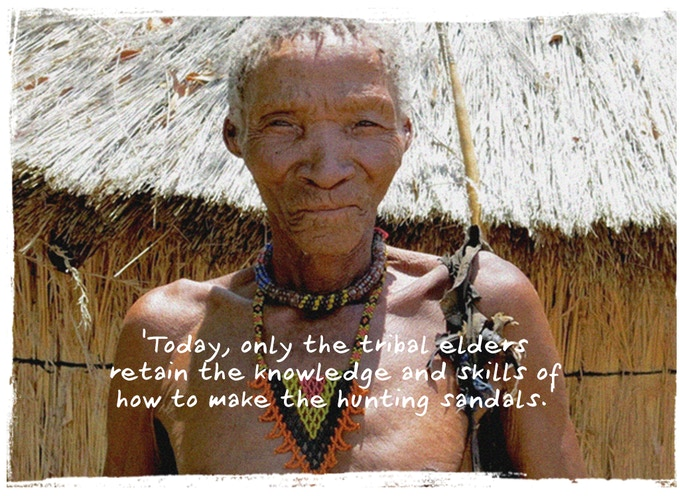 One of the San Bushmen in Namibia, Africa describing the importance of making san-dals to their culture.
