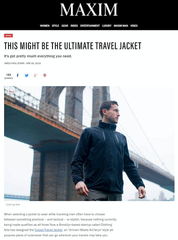 Read what Maxim Magazine says about The Cubed Travel Jacket™