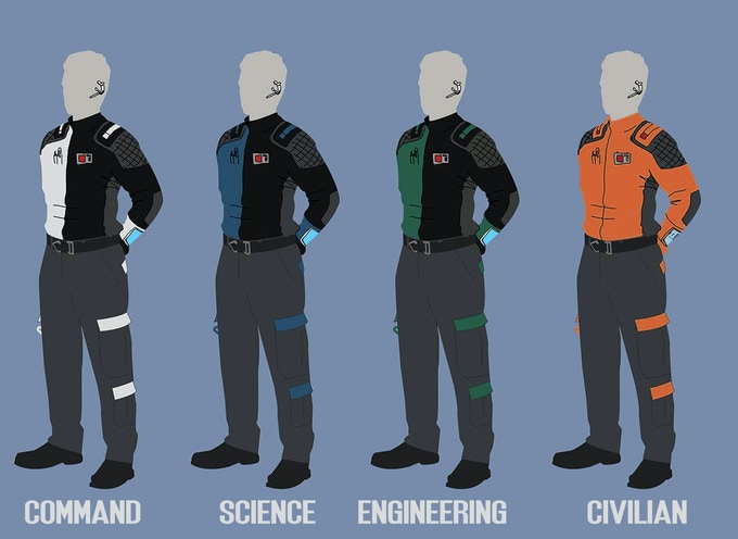 Official uniform designs, by Eric Henry, for the Earth Space Agency and Project Discovery mission teams.