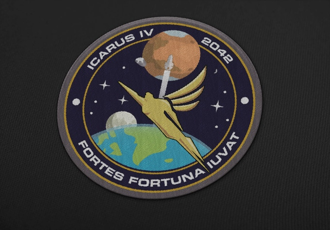The Icarus IV mission patch, designed by Aaron Harvey. Available now as a reward at the $30 level.