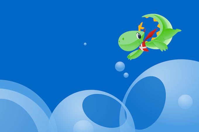 Flying Konqui mascot -- all in vectors