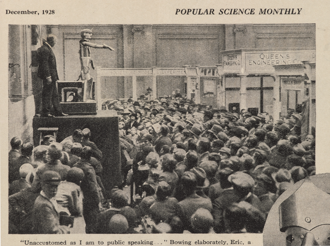 Eric opening the Model Engineering Exhibition in London in 1928, as shown in Popular Science Monthly. Credit: Science Museum