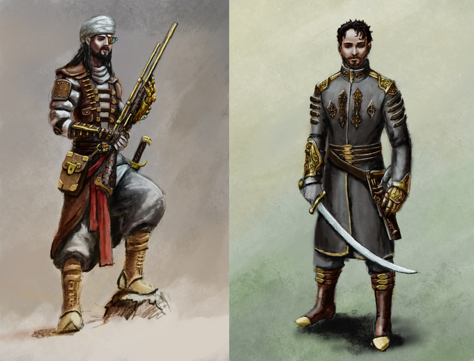 Concept Art for the characters Baltsar (left) and Dahl (right)