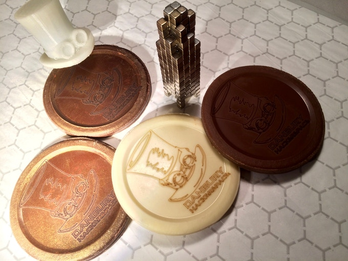 """A few medallions for the Danbury Hackerspace! Each one is 3.5"""" in diameter and 1.25 oz of chocolate."""