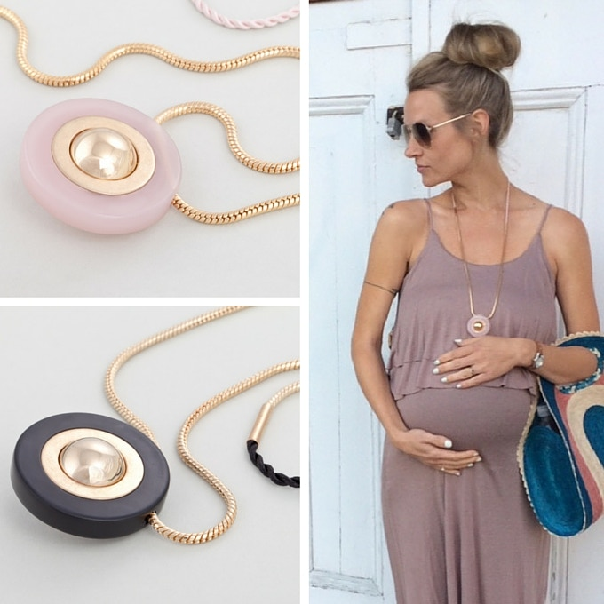 KIN Pregnancy Necklace - Available in Frosted White, Quartz Pink and Onyx Black. Picture by Hannah McBride.