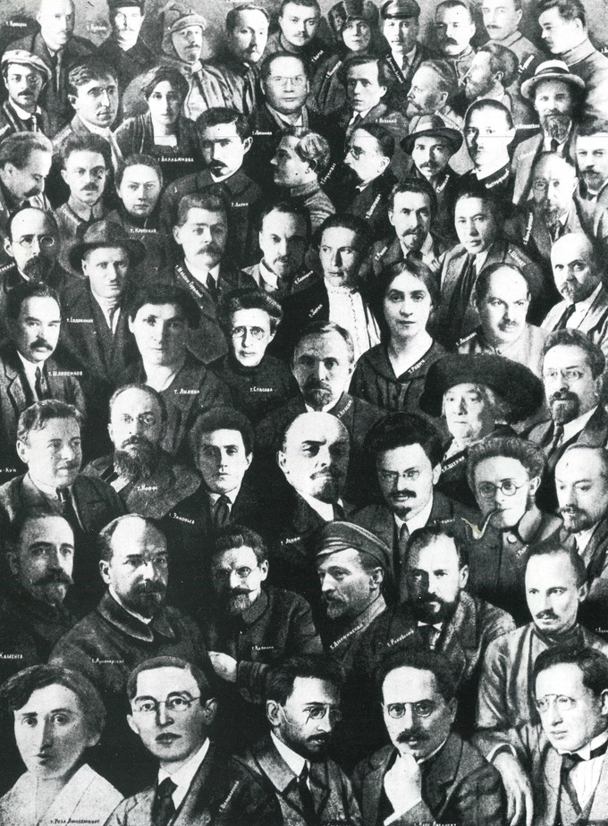 Contemporary montage of Bolshevik leaders of the revolution. Note Stalin is not included. Courtesy of David King