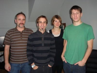 A rare picture of the team in our first office in 2010 - Derek (Producer), myself, Whitney (Art Direction) and Trevor (Level Design).