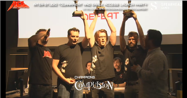 Winning at the inter-studio championship with our friends from Spearhead in 2014