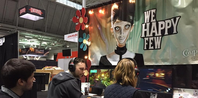 Josh, Whitney and Emmanuel setting up for our first public showing of We Happy Few at PAX East 2015