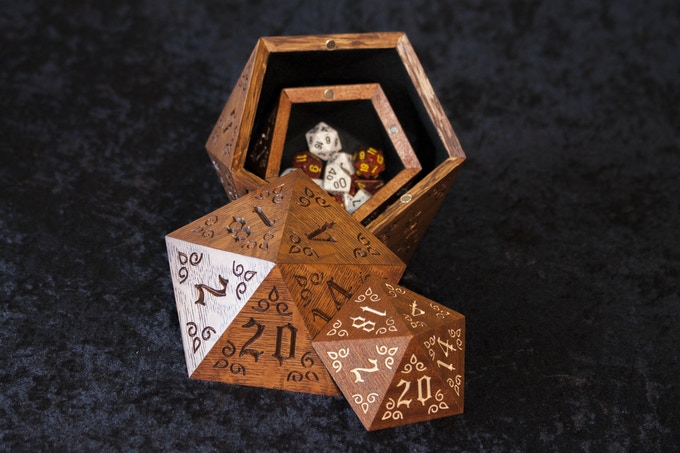 Elvenroot XL Dice Case with a standard dice case inside for size perspective