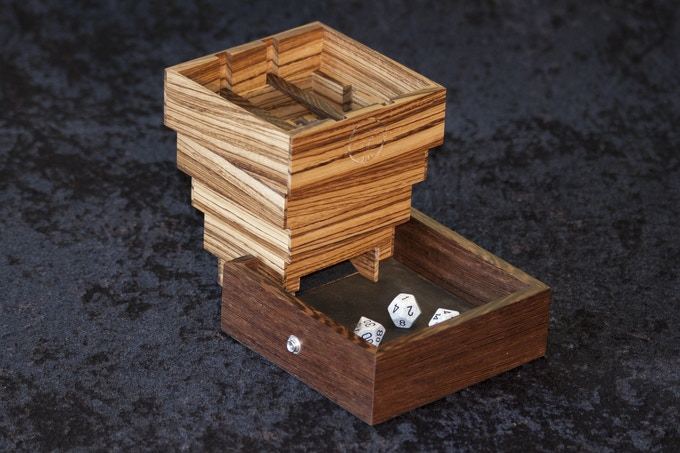 Evenroot Dice Tower shown in Zebrawood with Wenge Crossbars and Tray