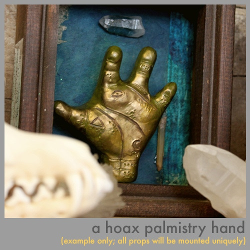 A hoax palmistry artifact, available at the Palmistry and Cabinet of Curiosities levels.