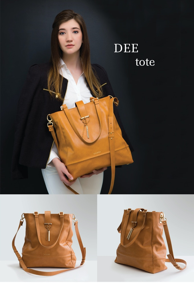 DEE TOTE: Easy elegance and a simple design offer a big impact with this large tote in soft camel colored vegan leather with gold accents and flap closure. See rewards section for more details.