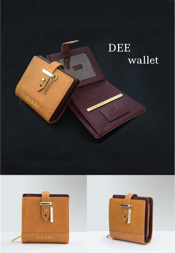 DEE WALLET: Compact yet impactful wallet in a soft camel colored  vegan leather with gold accents and flap closure. See rewards section for more details.