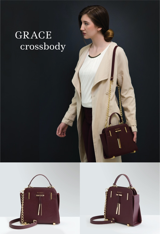 GRACE CROSSBODY: Delectable in every way. Lush wine-red vegan leather that feels utterly divine. Accented with gold hardware that elevates this bag from great to stunning. See rewards section for me details.