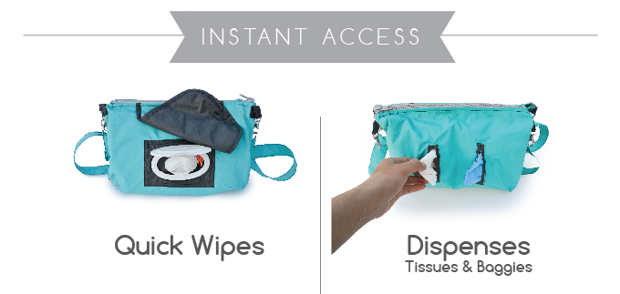 Lift up the flap for clean-up on the fly. Hassle-free magnetic closure. Fits your standard wipes package. Separate internal pockets allow for easy refilling and dispensing.