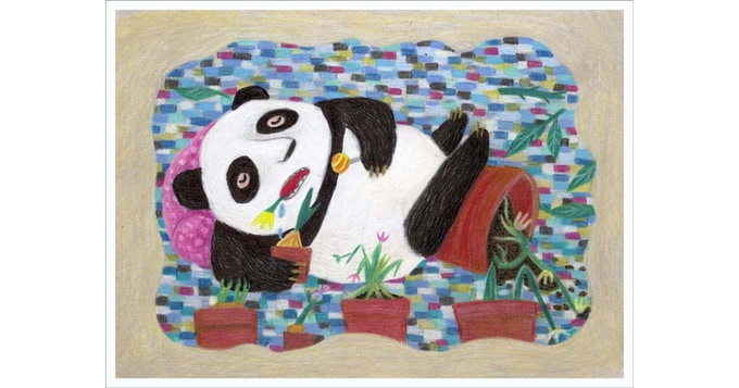 a panda relaxing between mum's flower pots