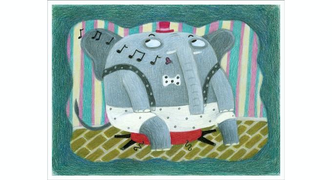 a singing elephant pretending nothing happened