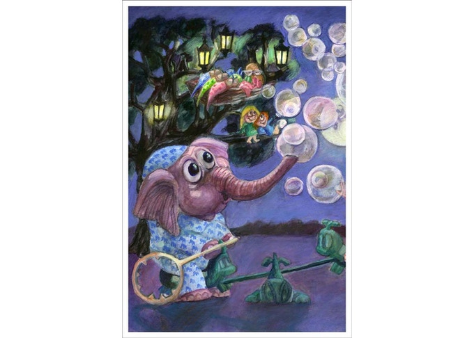 blowing bubbles with my elephant in a light of full moon is so fun!
