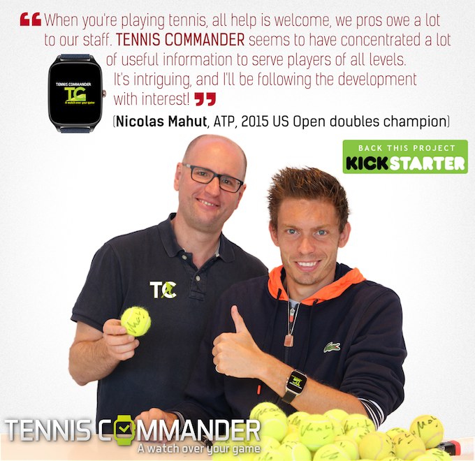 "To the left: G. Prencipe (""The boss"" of the Tennis Commander team). To the right: N. Mahut (2015 US Open doubles champion)."