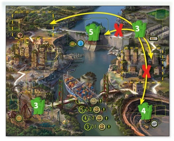 Let's look at the example shown in the image above. The player wishes to collect some munitions from the military base zone (top right) and some water from the dam (top middle).