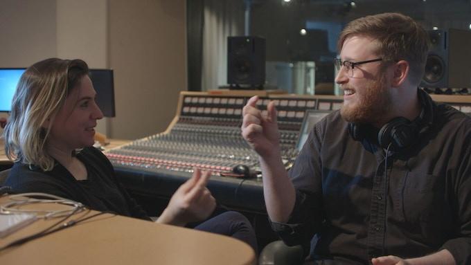 Host Nadia Sirota and producer Alex Overington in the studio