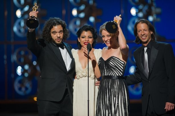 Sean and Andrea Fine with subject Inocente Izucar win the Oscar for Best Documentary Short for Inocente in 2013.