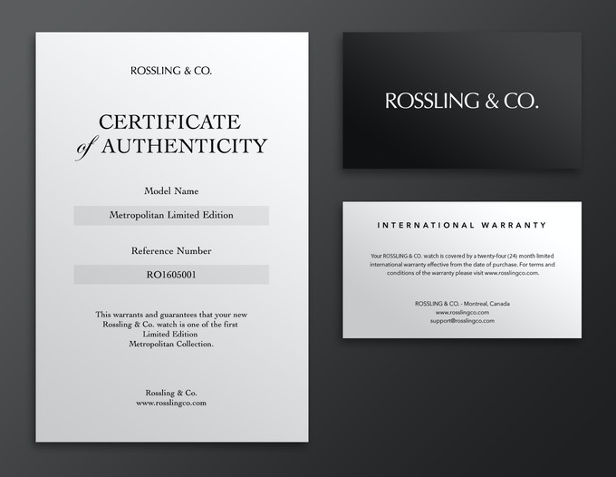 Certificate of authenticity and warranty card