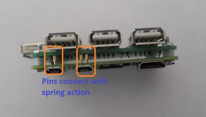 Pogo Pins connecting Pi Zero with Hub