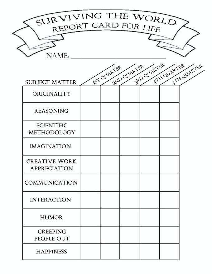 Initial report card design!