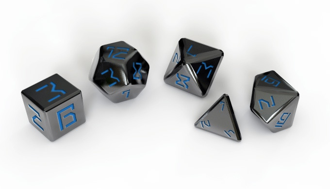 This custom engraved dice set is exclusive to Kickstarter.