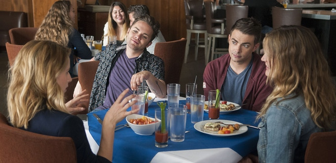 (L-R) Alona Tal, Thomas Dekker, Jonathan Bennett and Hutchi Hancock star in DO YOU TAKE THIS MAN. Photo by: Andrew Hreha © Modern Love, LLC.
