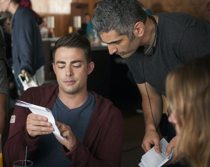 Jonathan Bennett and Director Joshua Tunick on the set of DO YOU TAKE THIS MAN. Photo by: Andrew Hreha © Modern Love, LLC.