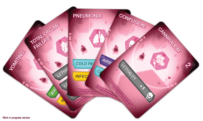 Players choose which genetic traits they want from their hand of Trait Cards. More powerful traits cost more DNA points.