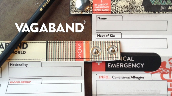 Vagaband is an identification bracelet for the young traveler; a tech free way to keep life-saving information with you at all times.