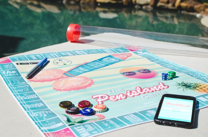 Everything you'll receive (1 premium waterproof game board, 10 bottle cap game pieces, 2 dice, 1 logo pen, 1 clear plastic storage tube, & free access to the Pen island Game app)