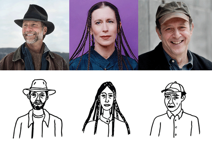 From left to right: John Luther Adams (Season One), Meredith Monk (Season Two), and Steve Reich