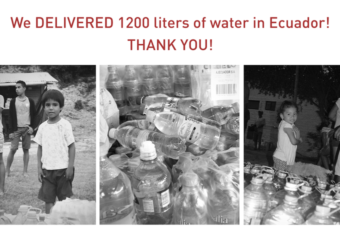 Because of everyone's support on Project Latitude's Kickstarter, we were able to donate 1200 liters of water to the Ecuador Earthquake relief efforts. The water was donated earlier this week in Canoa, Ecuador and came at a critical time for the community.