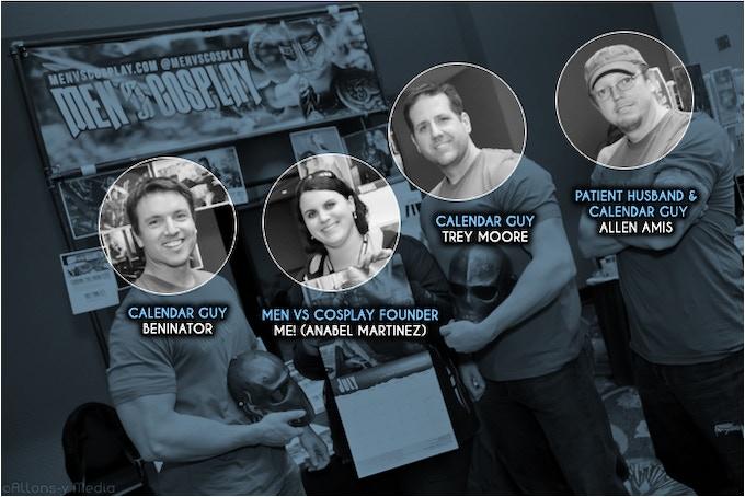 Anabel with Men vs Cosplay calendar dudes Ben Dickinson, Trey Moore, and Allen Amis.