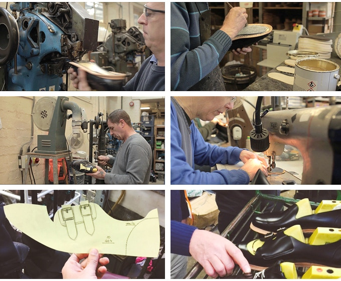 Images show various development phases of our shoes - in the Northampton factory